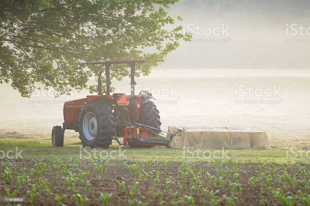 Tractor and cutter on foggy morning royalty-free stock photo