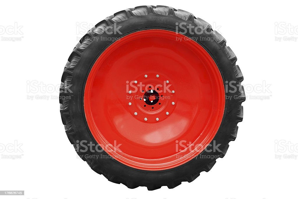 tractor big wheel isolated royalty-free stock photo