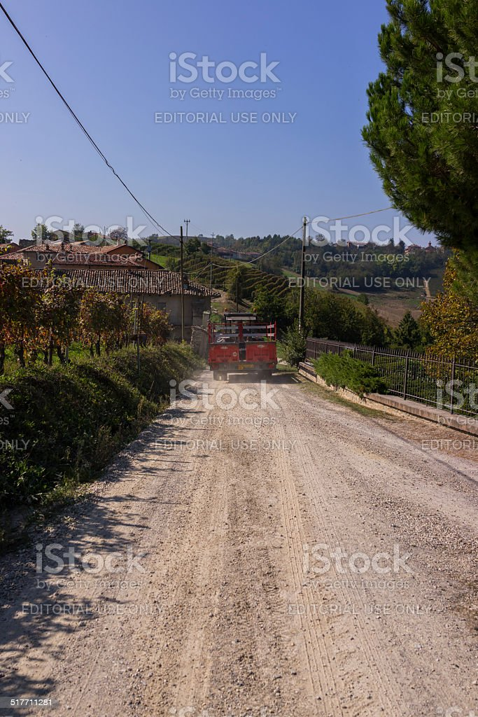 Tractor bringing grapes in Langhe (Unesco World Heritage site) stock photo