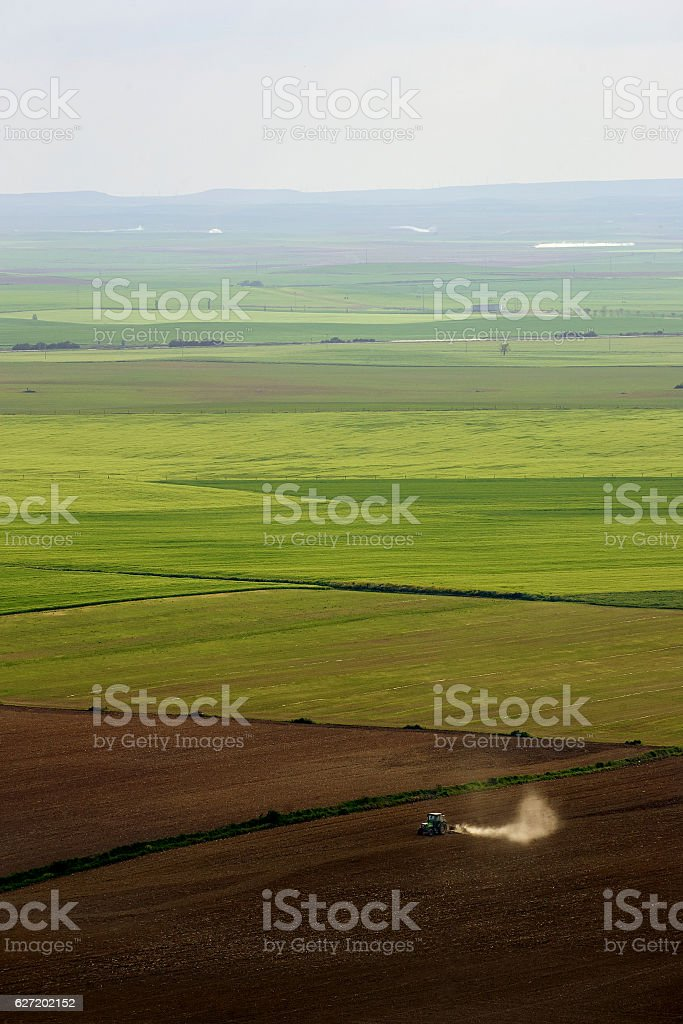 tractor en el campo stock photo