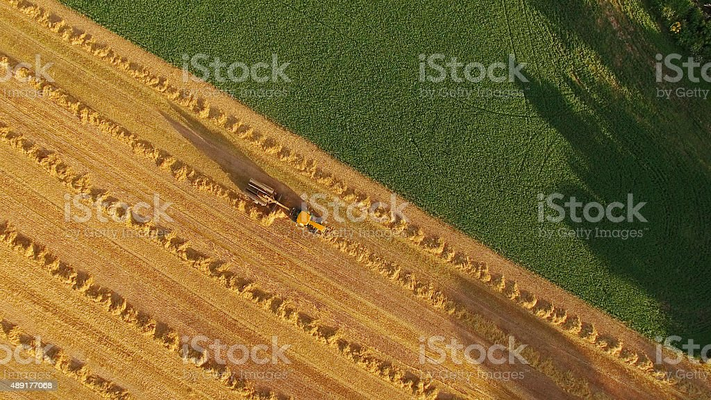 Tractor Farming Scenic Hay Field, Aerial View stock photo