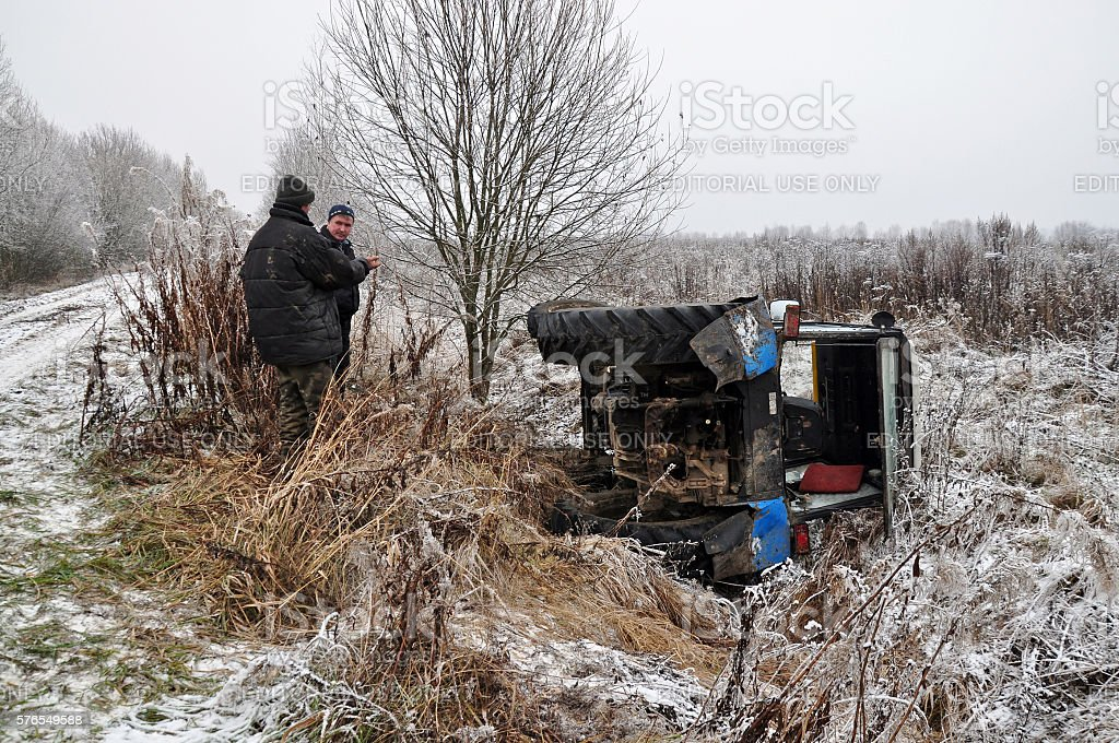 tractor fell into the ditch. Russia stock photo