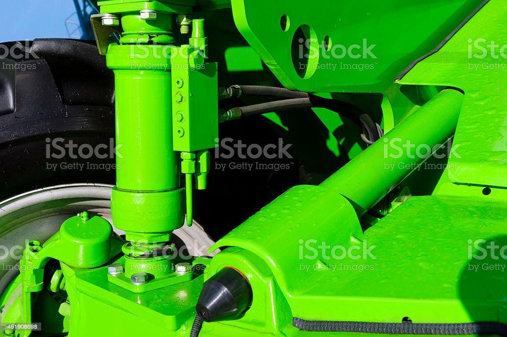 Tractor hydraulic suspension stock photo