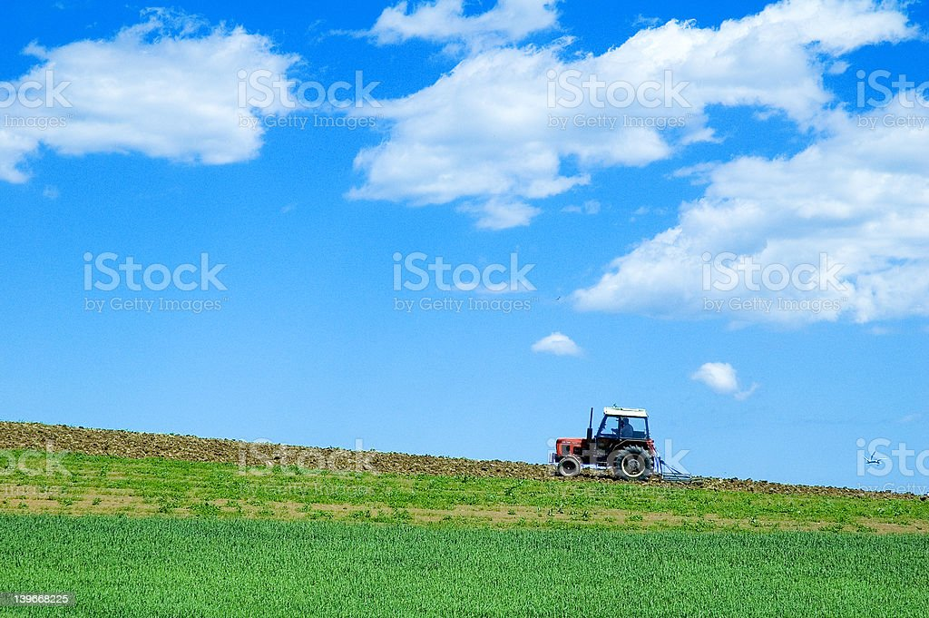 tractor in green field royalty-free stock photo