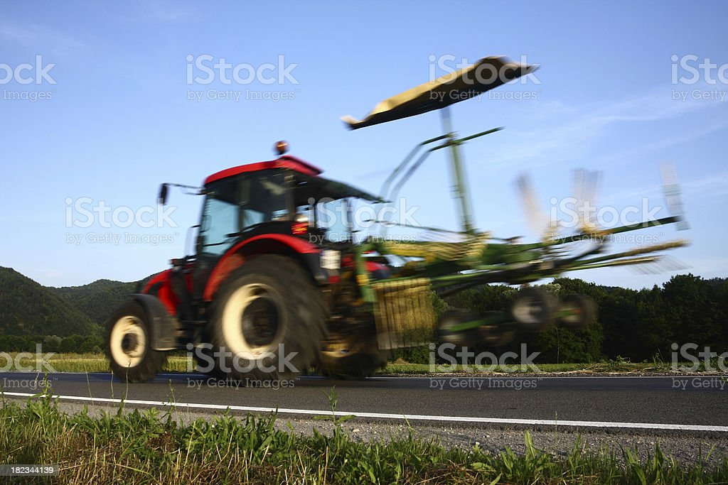 Tractor in motion stock photo