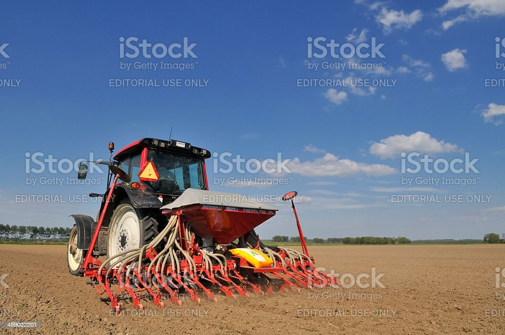 Tractor in the field royalty-free stock photo
