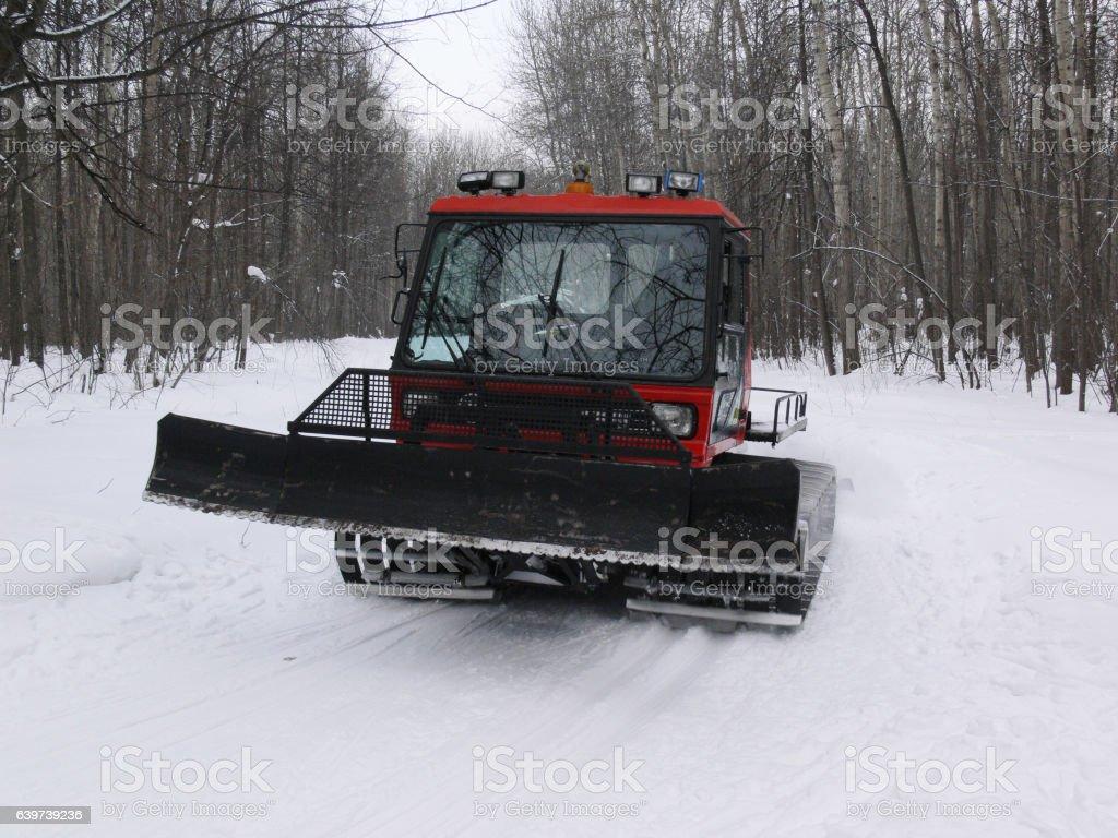 Tractor make ski-track stock photo