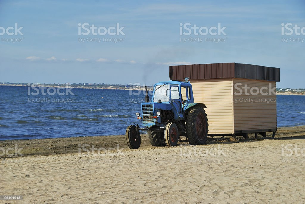 Tractor on coast royalty-free stock photo