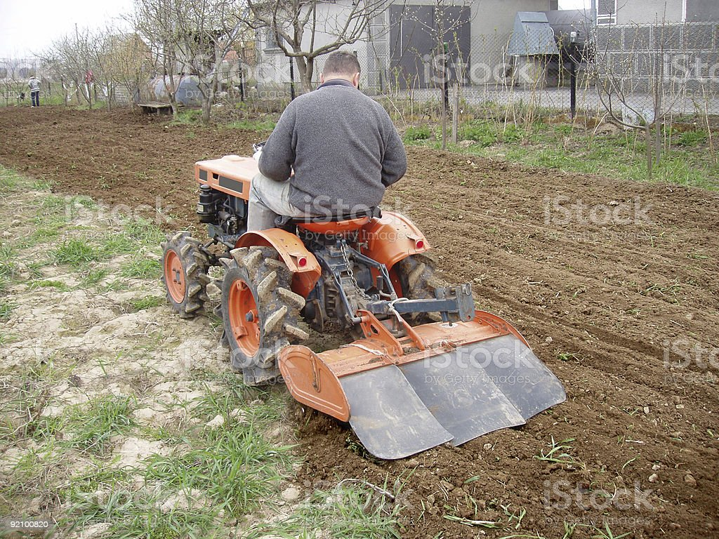 tractor on garden royalty-free stock photo