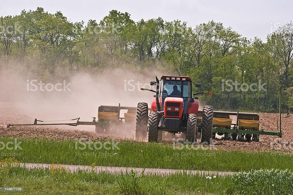 Tractor Planting Corn royalty-free stock photo