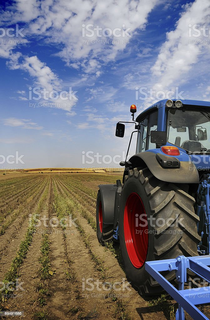 A tractor planting seeds on a very large open field royalty-free stock photo