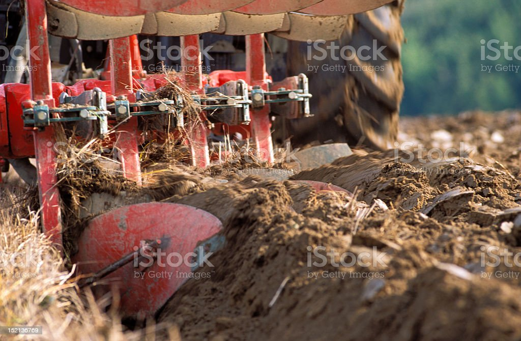 Tractor ploughing royalty-free stock photo