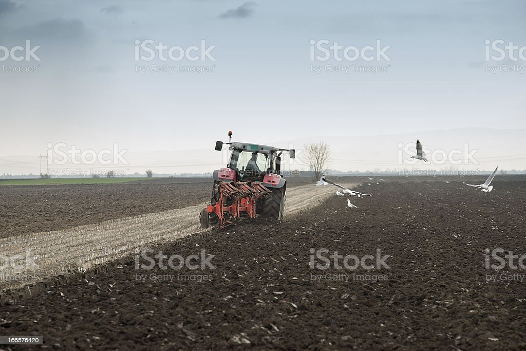 Tractor Plowing royalty-free stock photo