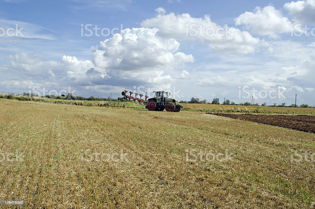 tractor prepare plow agricultural harvest field royalty-free stock photo