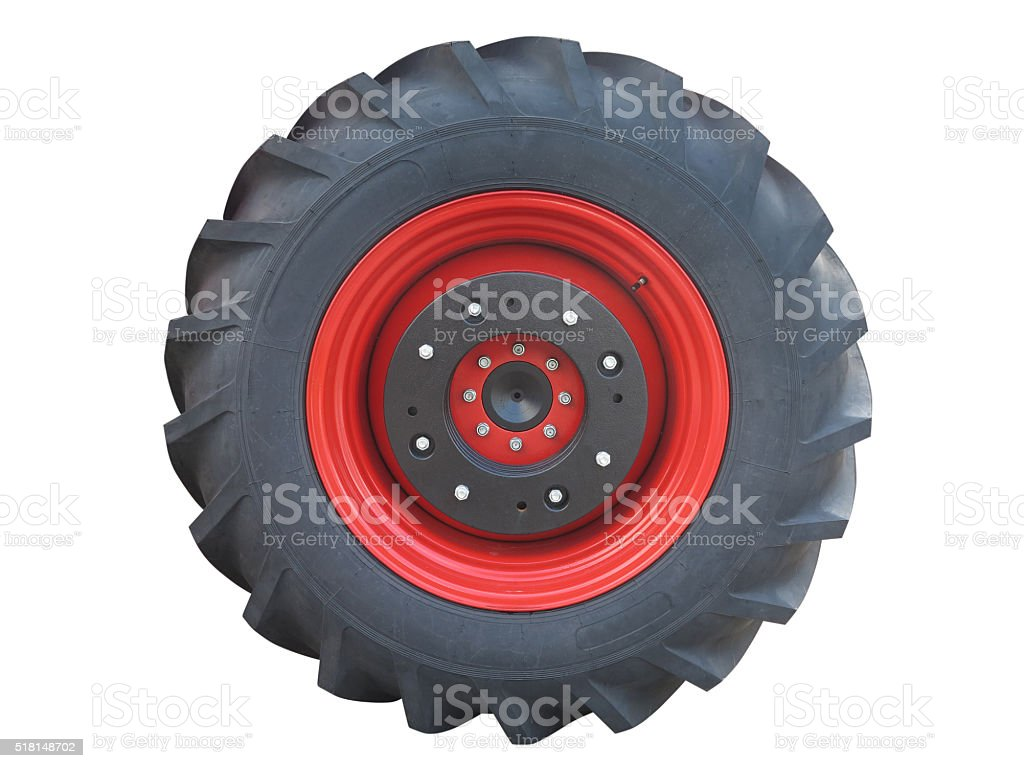 Tractor red tire wheel isolated over white stock photo