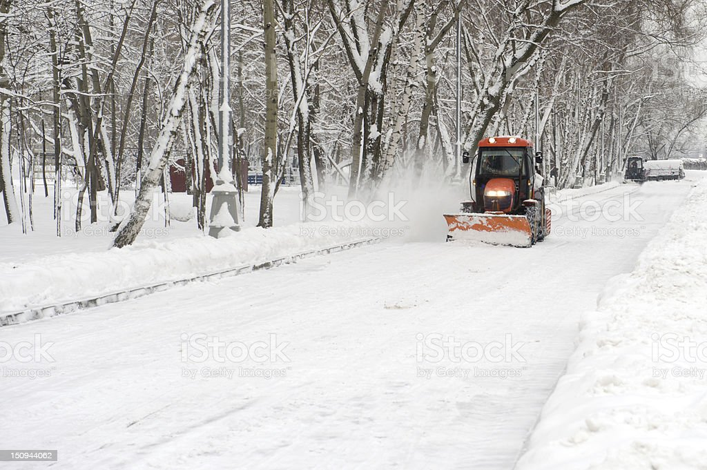 tractor snow removal royalty-free stock photo