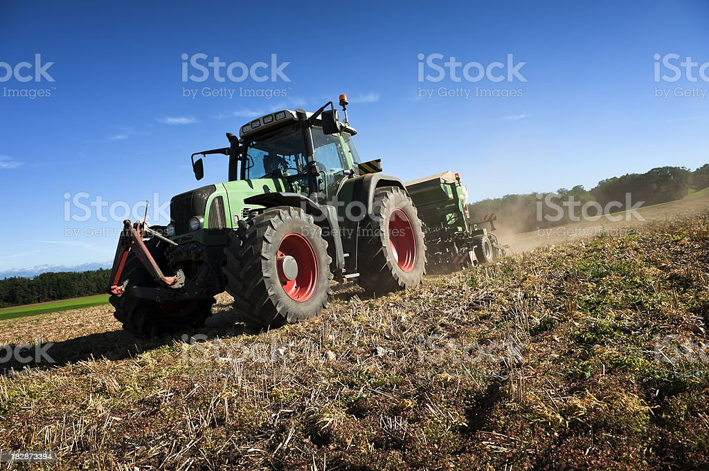 Tractor sowing canola seed royalty-free stock photo