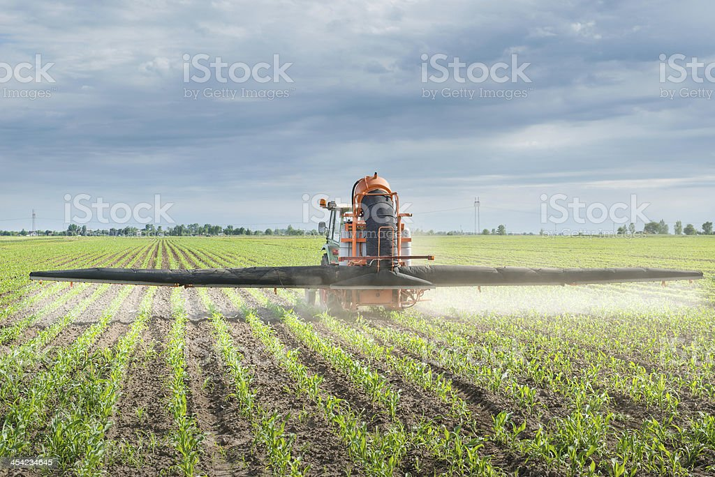 Tractor spraying royalty-free stock photo
