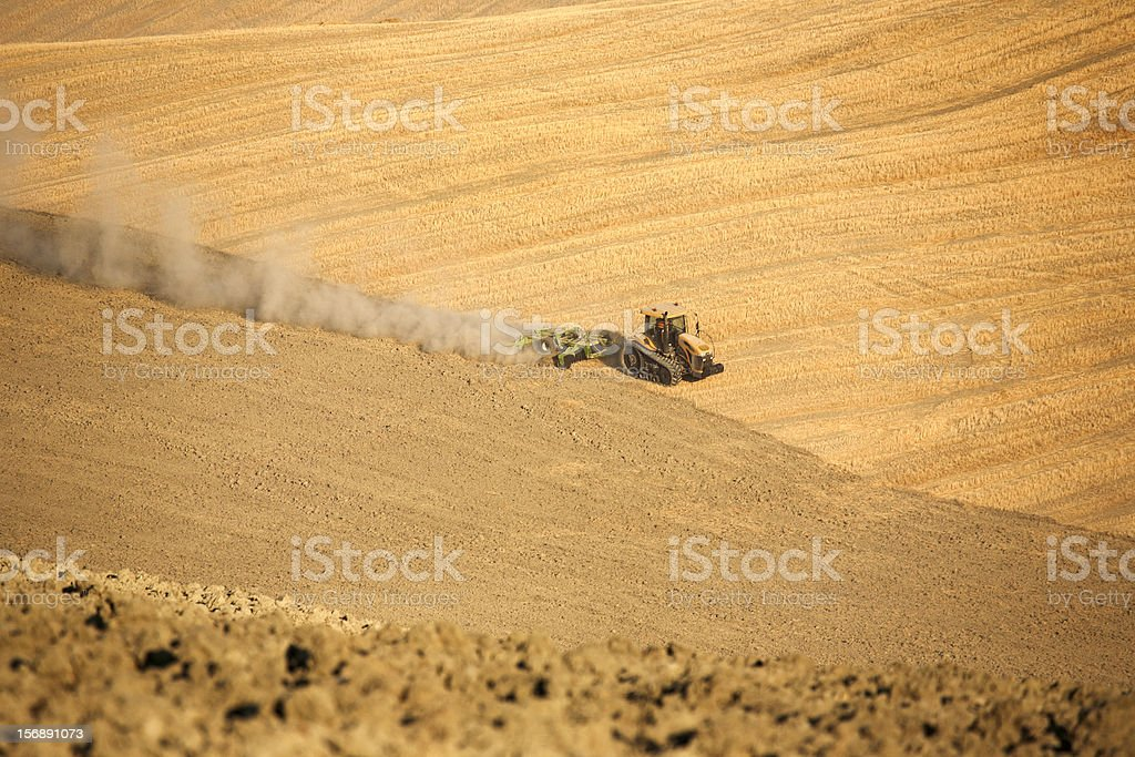 Tractor that plows a field royalty-free stock photo