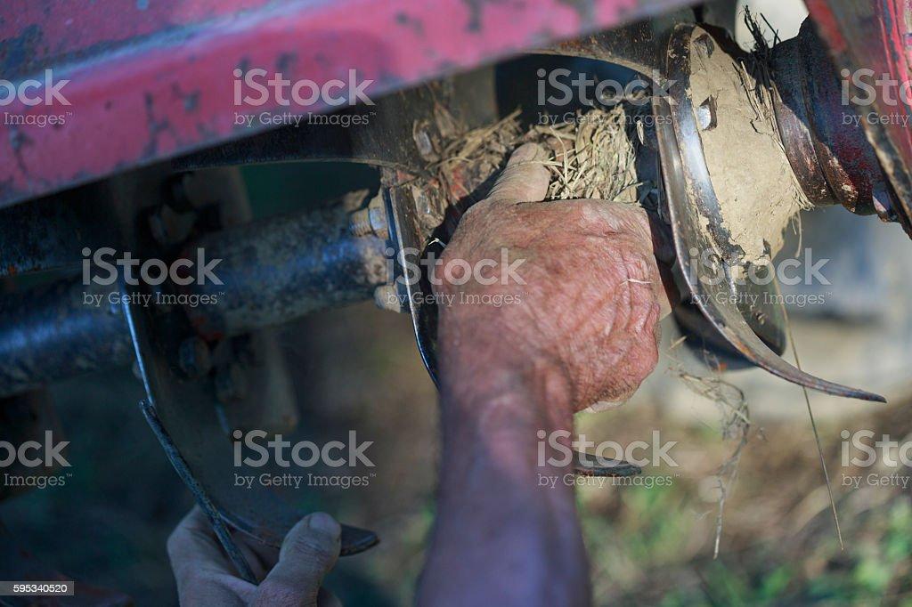 Tractor tiller blade close up stock photo