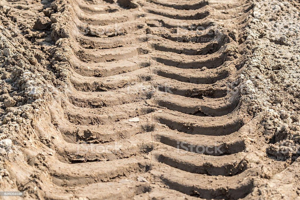 Tractor traces on the field stock photo