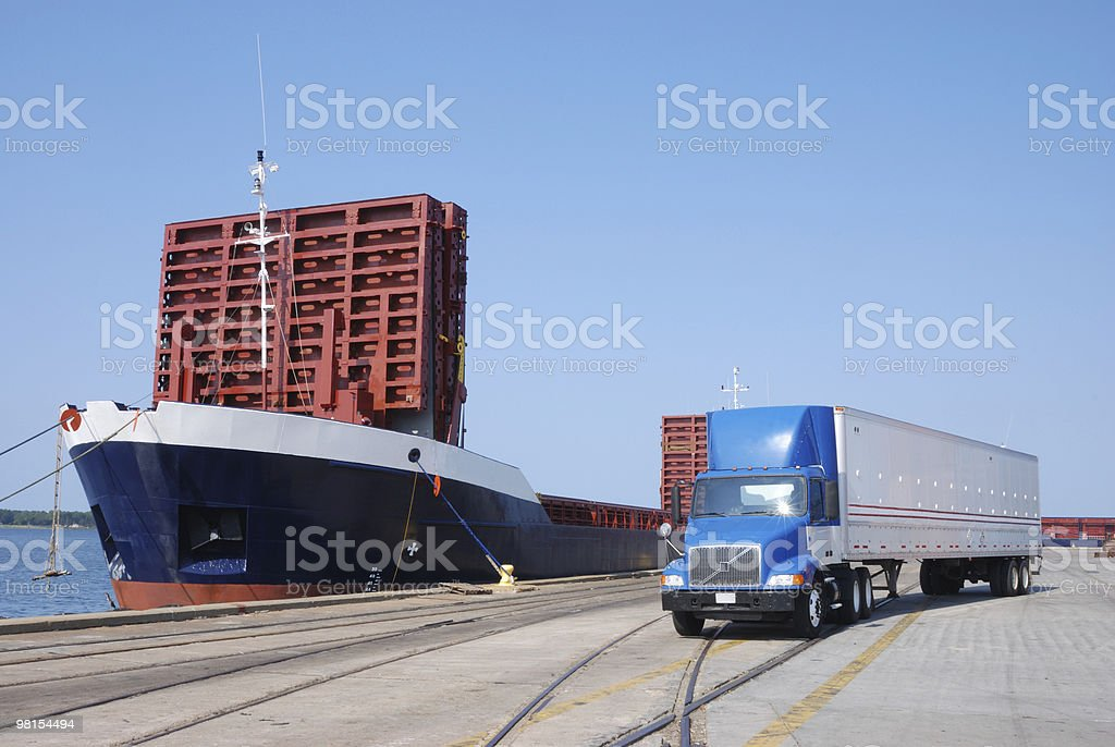 Tractor Trailer at a Shipping Port Terminal royalty-free stock photo