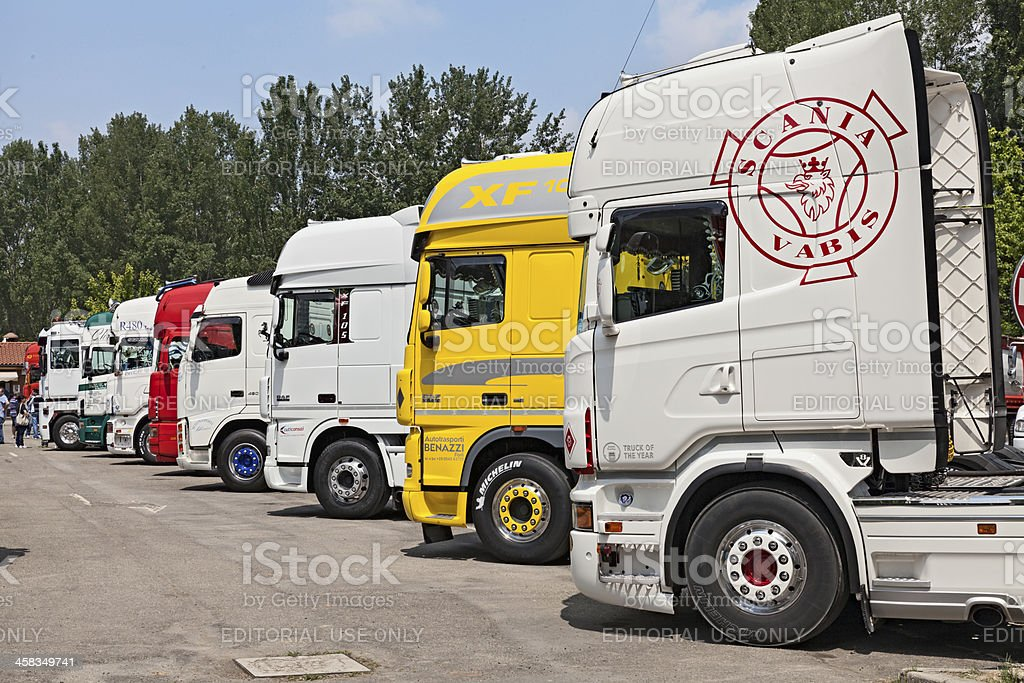 tractor trailer trucks royalty-free stock photo