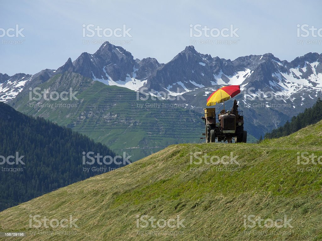 tractor with sunshade royalty-free stock photo