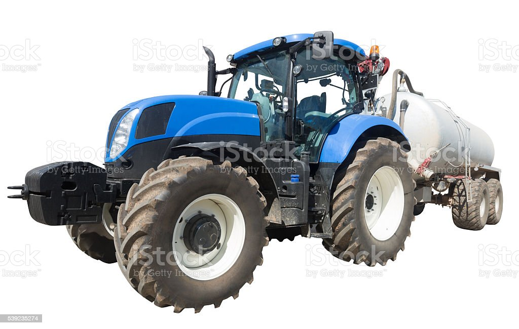 tractor with tank isolated stock photo