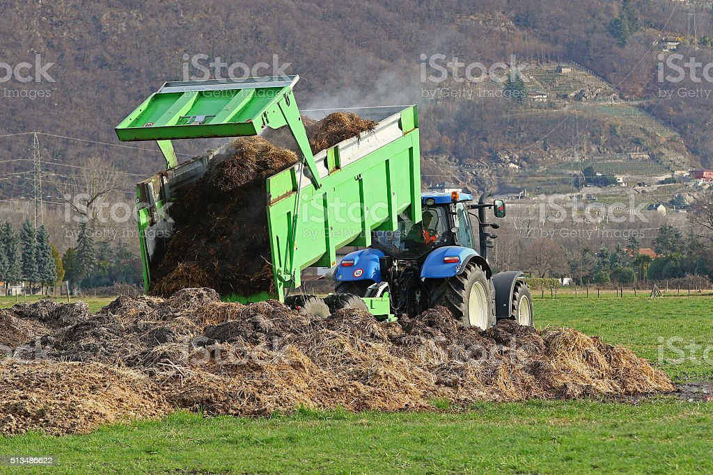 Tractor with trailer stock photo