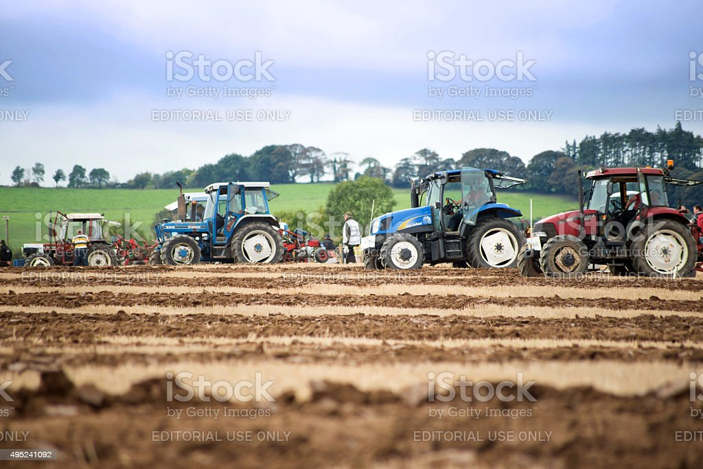 tractors in the irish national ploughing championships stock photo