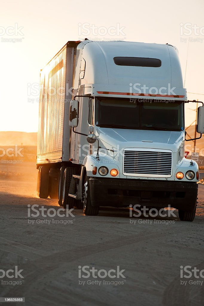 Tractor-trailer stock photo