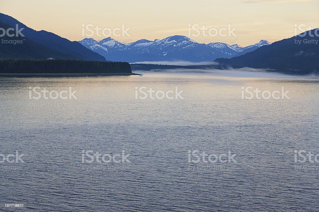 Tracy Arm Fjord, Alaska, USA, Sunrise stock photo