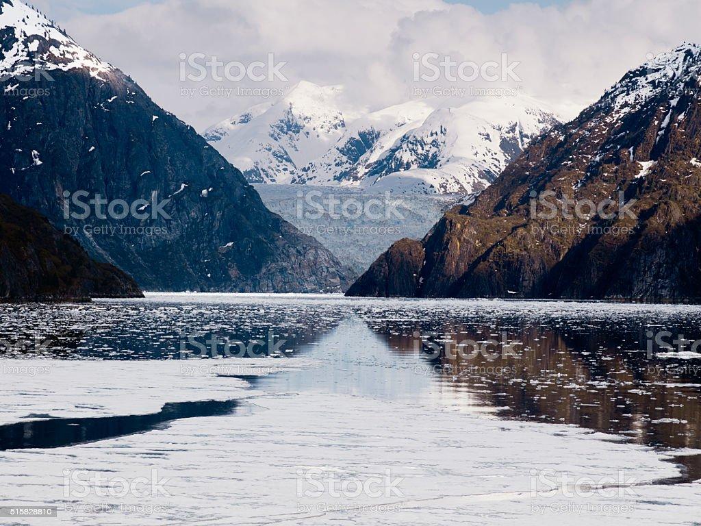 Tracy Arm Fjord and Sawyer Glacier, Alaska stock photo