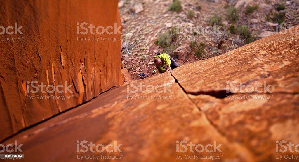 Trad Rock Climbing in Utah at Indian Creek stock photo