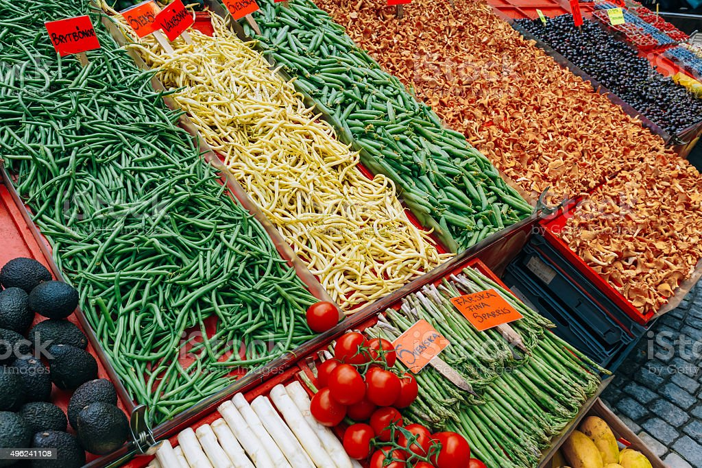 Trade fruits and vegetables in local food market in Stockholm stock photo