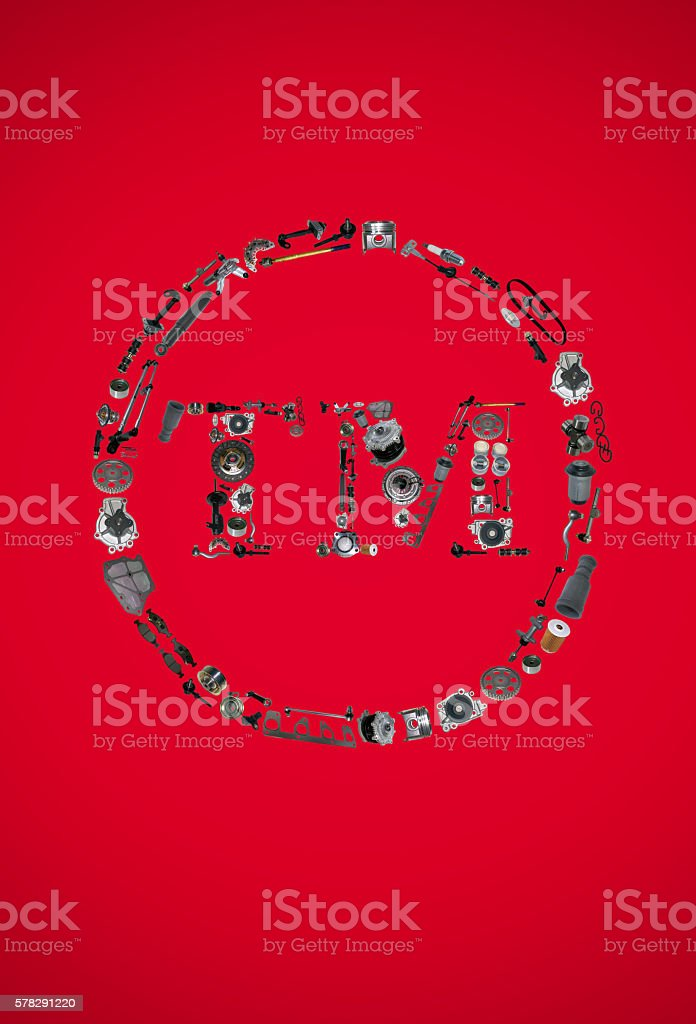 Trade Mark icone with auto parts for car stock photo