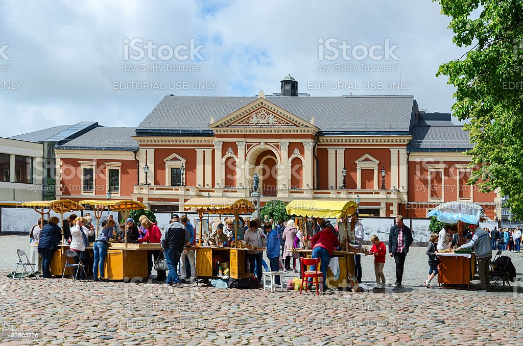 Trade of souvenirs and amber at Theater Square, Klaipeda stock photo