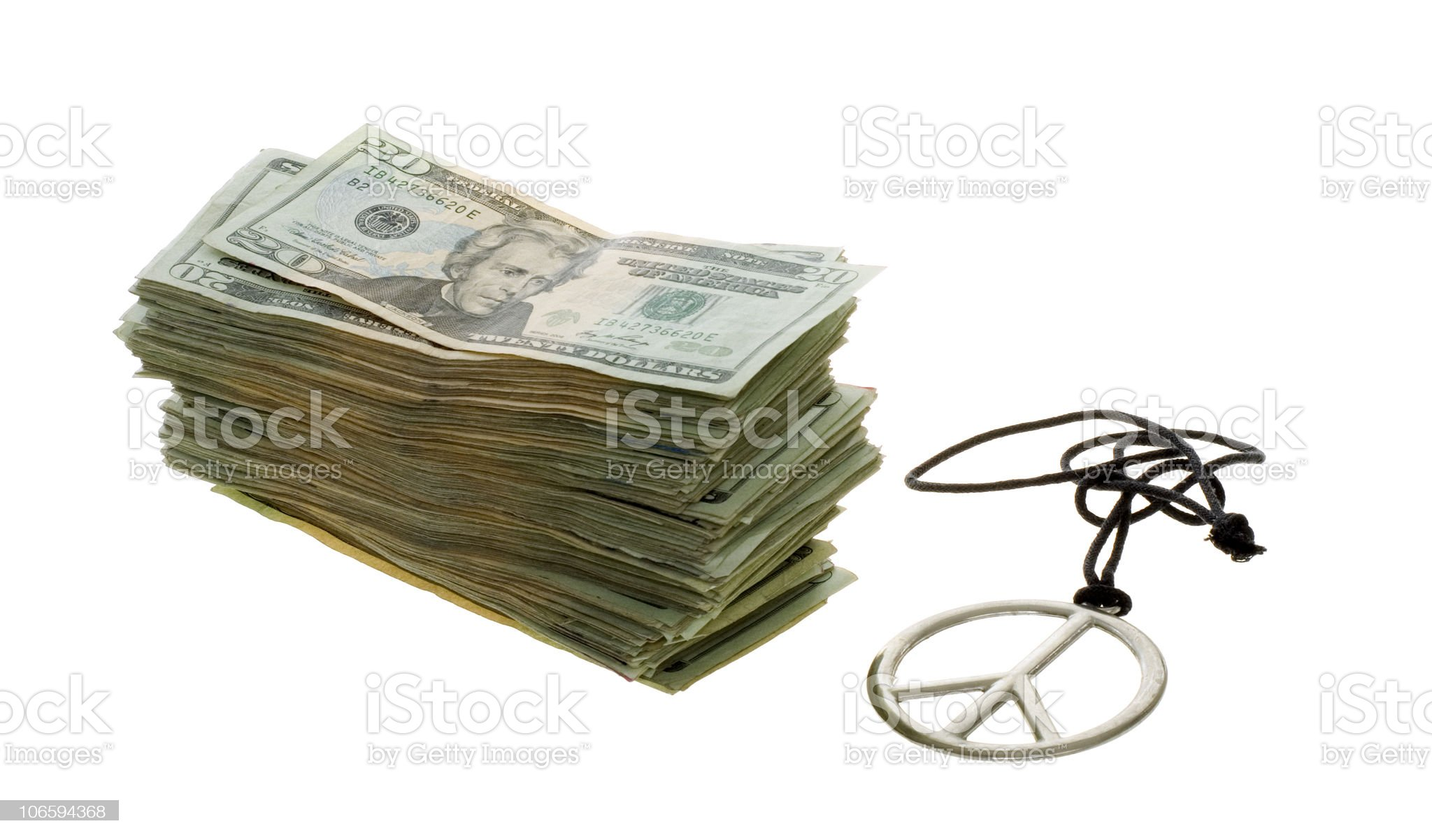 Trade Peace for Money royalty-free stock photo