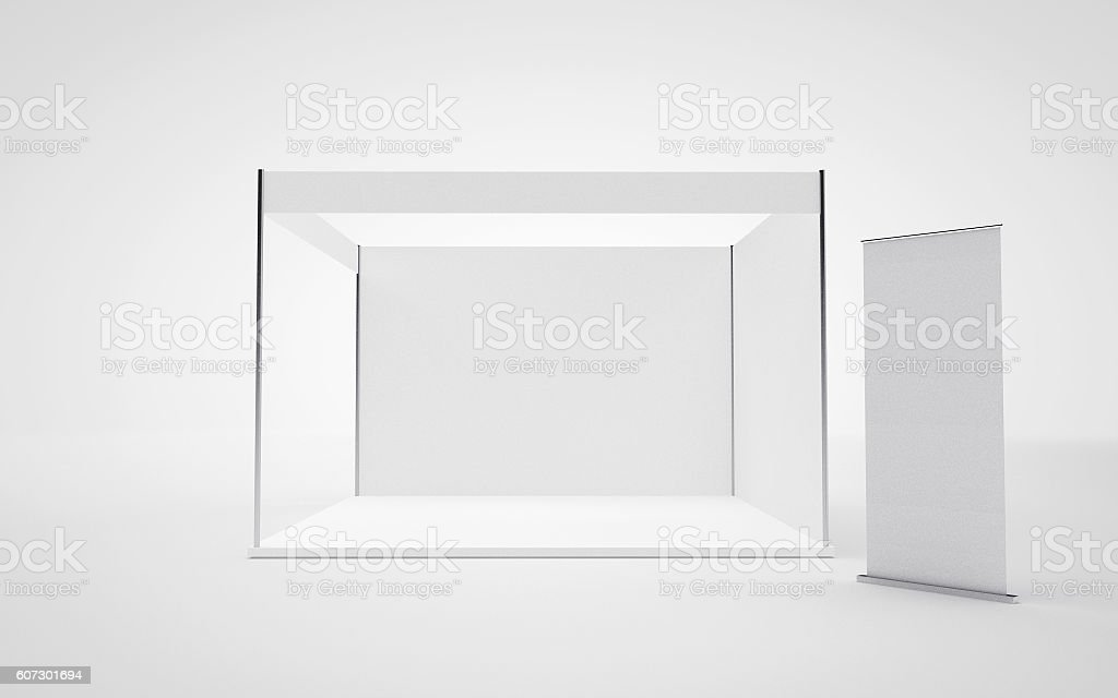 Trade show booth and Roll up. Mock up. 3D Render stock photo