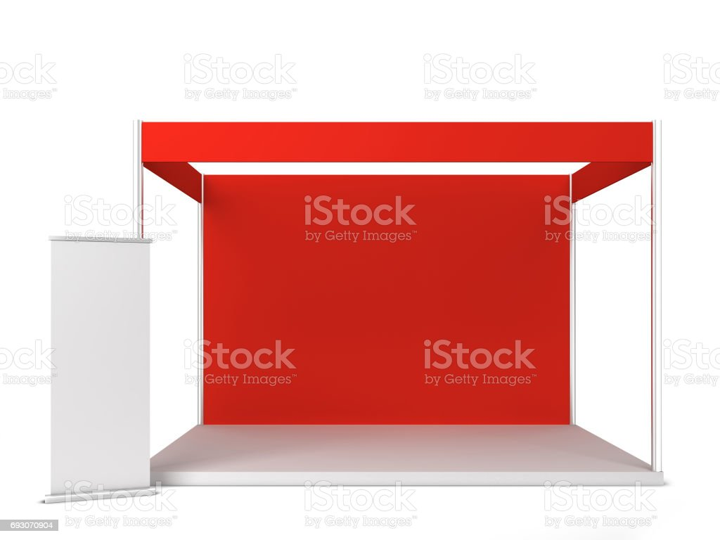 Trade show booth with banner stock photo