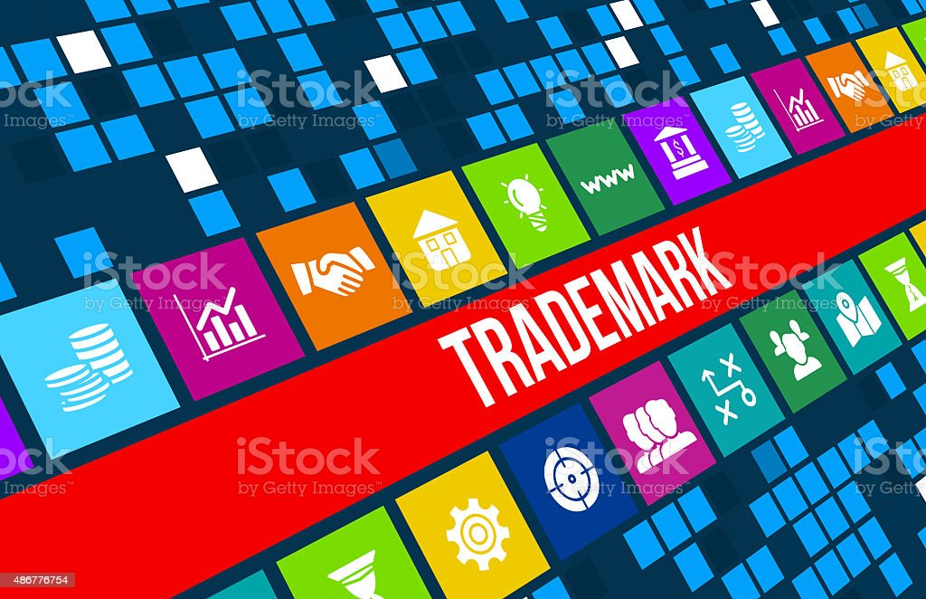 Trademark  concept image with business icons and copyspace. stock photo