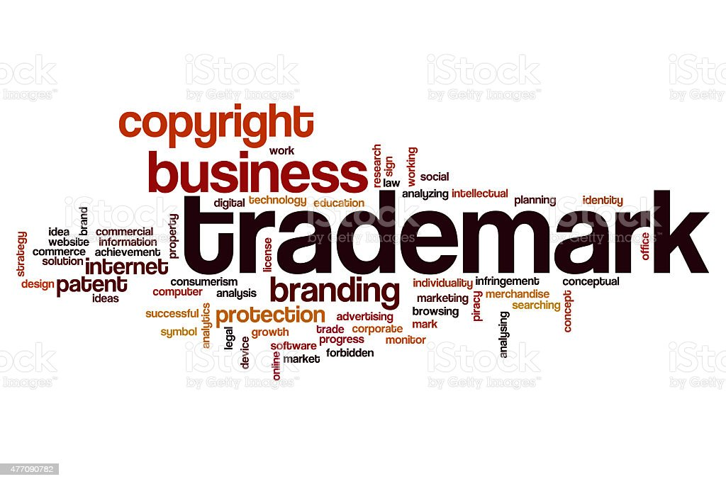 Trademark word cloud concept stock photo