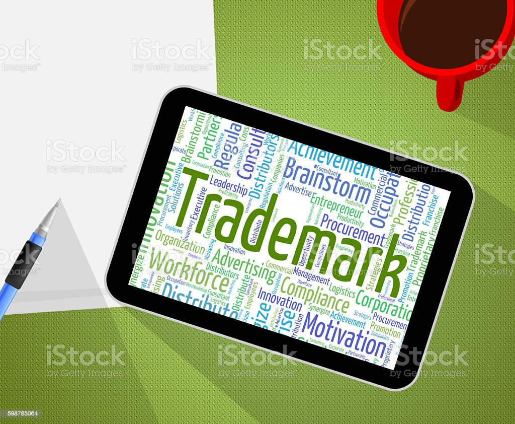 Trademark Word Means Brand Name And Emblem stock photo