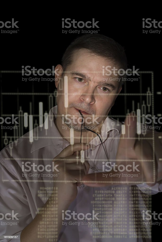 trader measures candle stick graph to analyze stock royalty-free stock photo