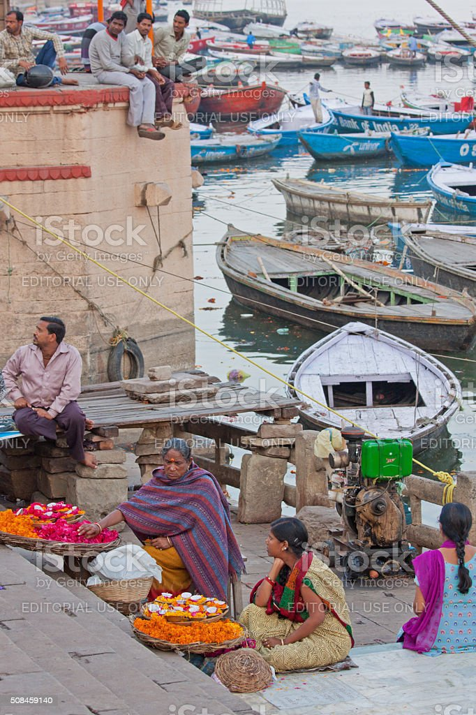 Traders on the banks of the river Ganges at Varanasi stock photo