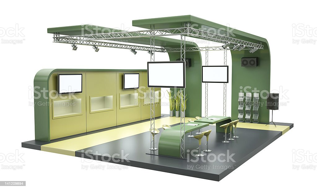 Tradeshow stand, exhibition booth on a white background stock photo