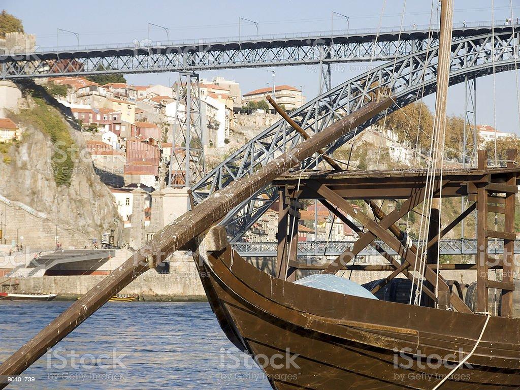 Tradicional rebelo boat-Porto in Portugal stock photo