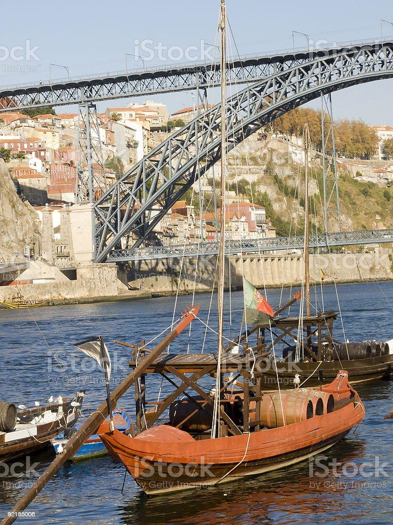 Tradicional rebelo boat-Porto, Portugal stock photo