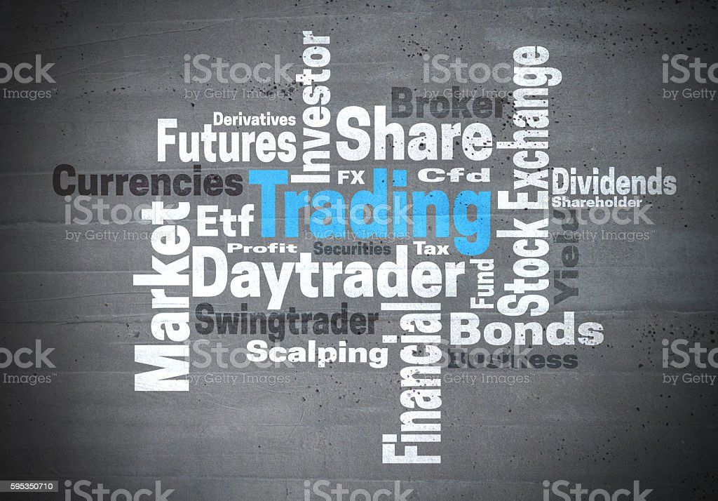 Trading daytrader stock exchange word cloud concept stock photo